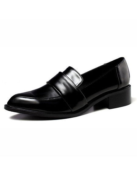 Milanoo Black Loafers Women PU Leather Pointed Toe Slip On Casual Shoes