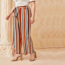 Plus Striped Belted Wide Leg Pants