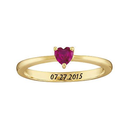 Personalized Girls Heart Birthstone Ring, 4 , Yellow