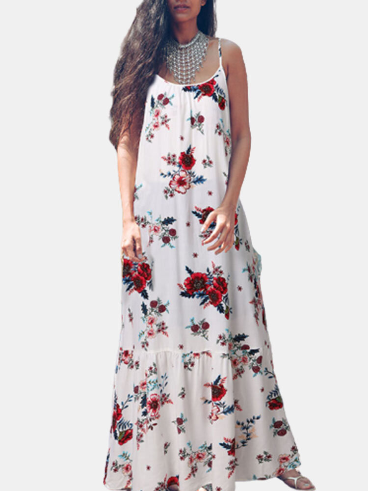 Flowers Print Straps Plus Size Dress