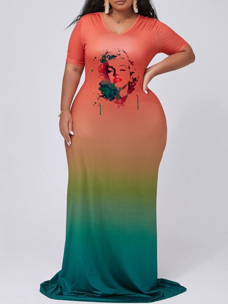 Ericdress V-Neck Short Sleeve Floor-Length A-Line PlusSize Dress