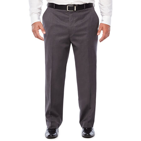 Stafford Medium Grey Travel Woven Flat Front Suit Pants-Classic Fit, 50 32, Gray