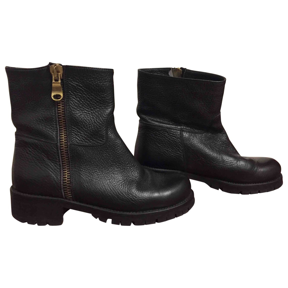 Non Signé / Unsigned \N Black Leather Ankle boots for Women 36 EU