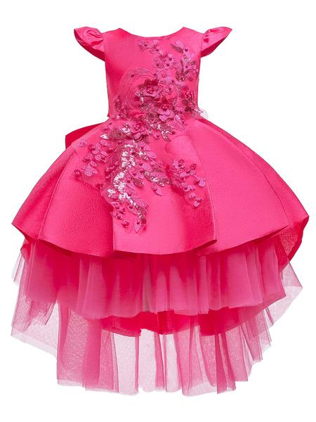Milanoo Flower Girl Dresses Jewel Neck Sleeveless Bows Kids Party Dresses