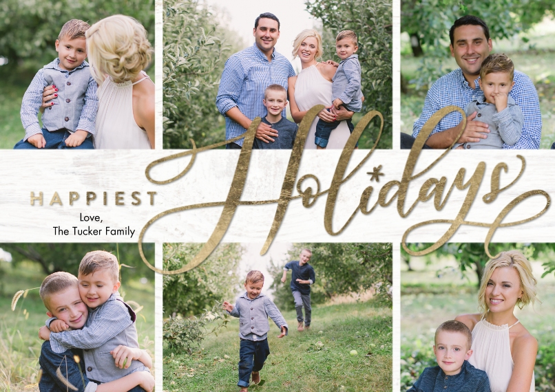 Holiday Photo Cards 5x7 Cards, Premium Cardstock 120lb with Scalloped Corners, Card & Stationery -Holiday Happiest by Tumbalina