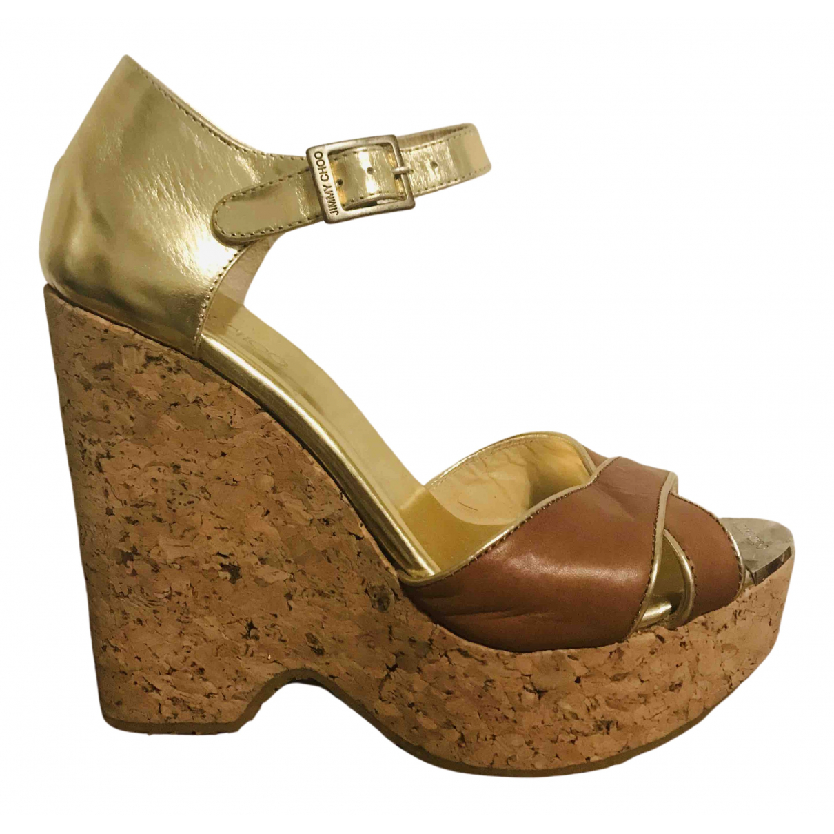 Jimmy Choo \N Gold Leather Sandals for Women 39 IT
