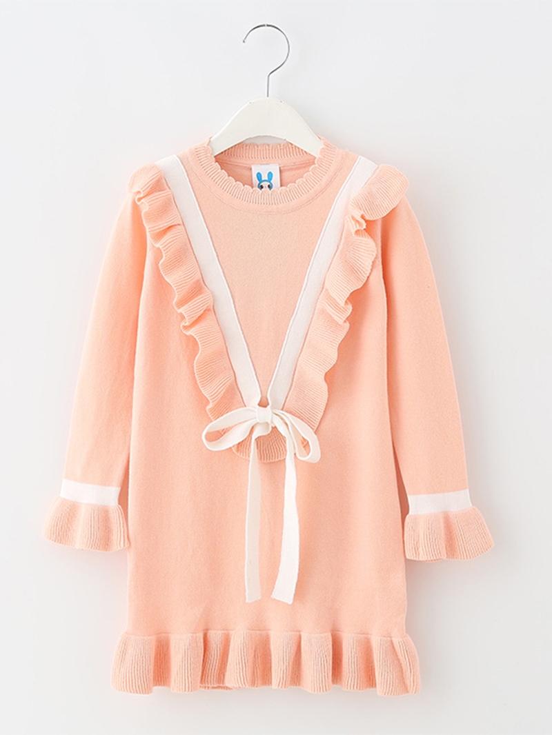 Ericdress Falbala Lace-Up Flare Sleeve Girl's Knitting Dress