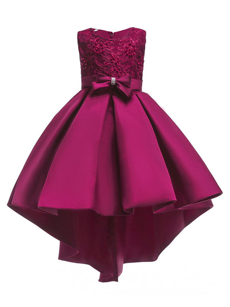 Milanoo Flower Girl Dresses Red Satin Asymmetrical A Line Bow Sash Lace Beaded Kids Formal Dress
