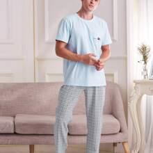 Men Letter Graphic Tee With Plaid Pants PJ Set