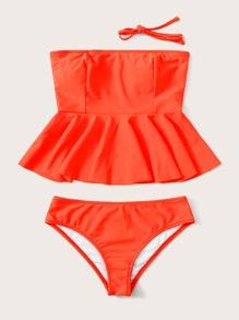 Ruffle Hem Bandeau Bikini Swimsuit
