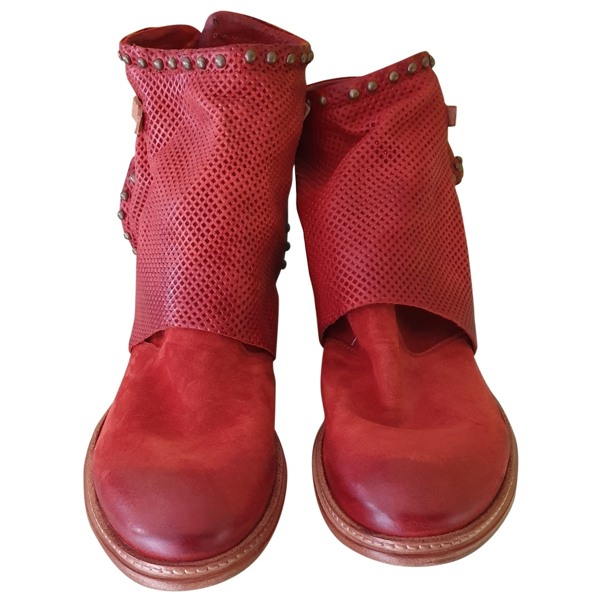 A.s.98 \N Red Leather Ankle boots for Women 40 EU