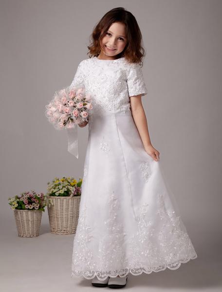 Milanoo White Flower Girl Dresses Short Sleeve Lace Applique First Communion Dress