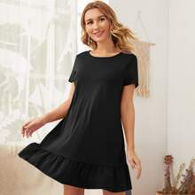 Maternity Ruffle Hem Solid Dress