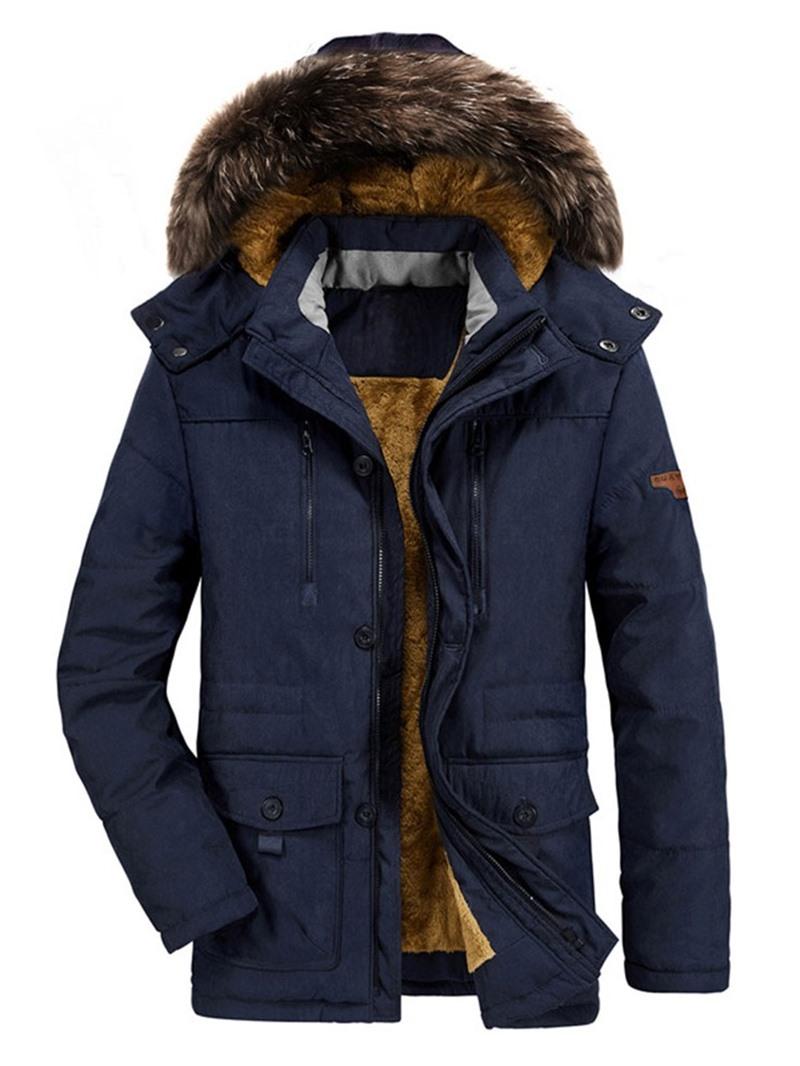 Ericdress Plain Casual Plain Mid-Length Hooded Men's Down Jacket