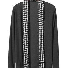 Men Houndstooth Panel Open Front Coat