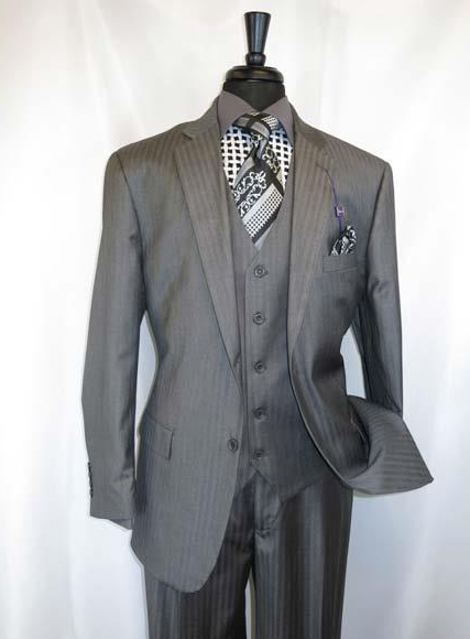 Men's Shadow Stripe Style 2Buttons Grey Single Notch Lapel Vested Suit