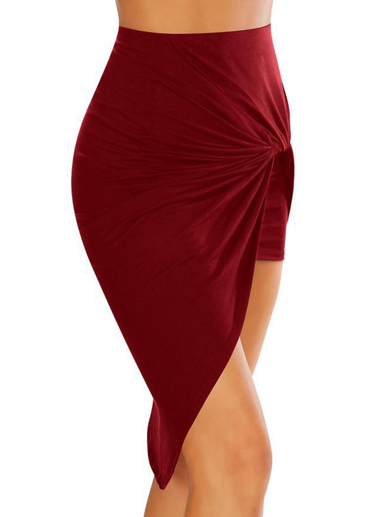 Ericdress Asymmetric Pleated Women's Skirt
