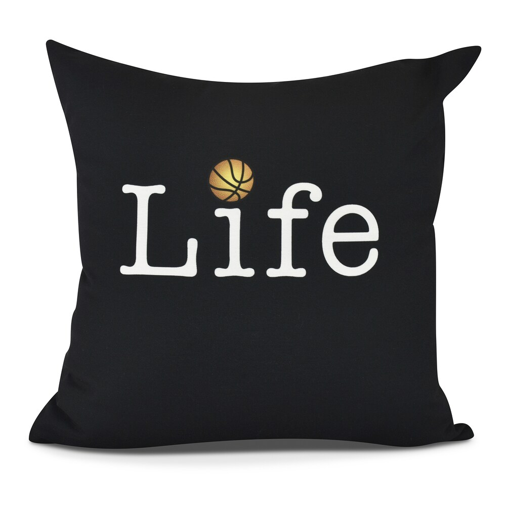 Life Basketball Print Pillow (Medium - Green - 16 x 16)