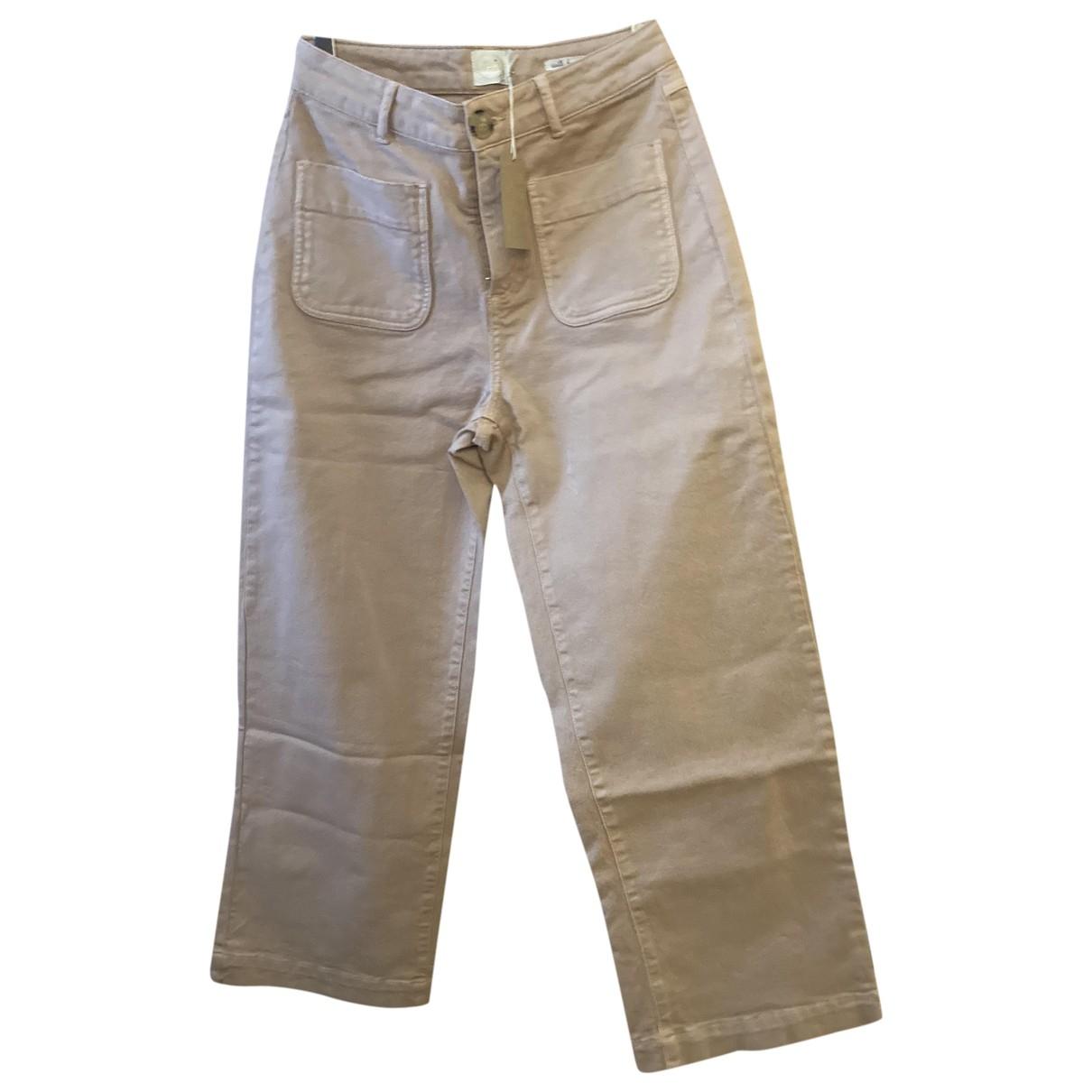 Des Petits Hauts \N Pink Cotton Trousers for Women 38 FR