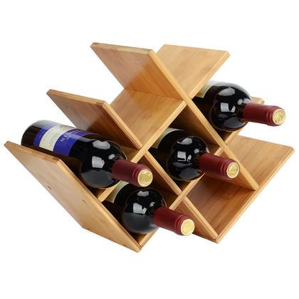 Rangement pour casiers à vin Butterfly Comptoir de 8 bouteilles en bambou naturel - SortWise™