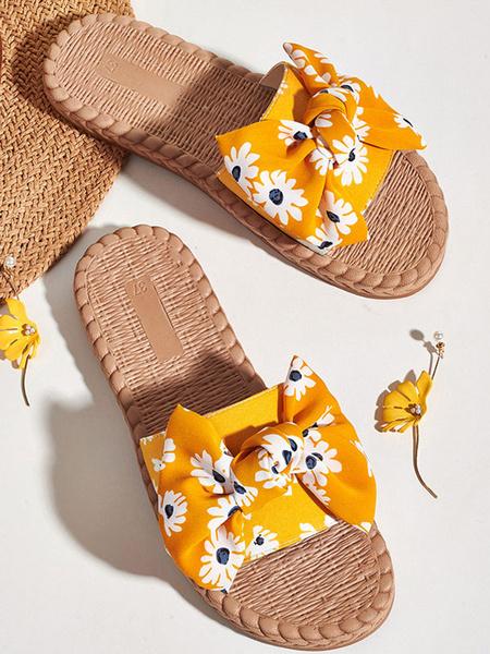 Milanoo Yellow Beach Sandals Women Open Toe Floal Printed Bow Sandal Slides
