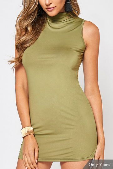 Yoins Army Green High Neck Sleeveless Mini Dress