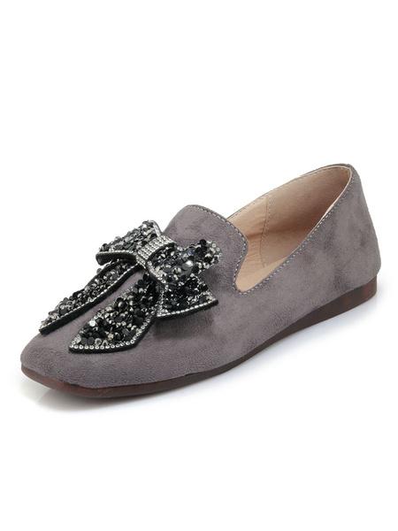 Milanoo Grey Women Loafers Suede Round Toe Rhinestones Bow Slip On Shoes Khaki Flat Shoes