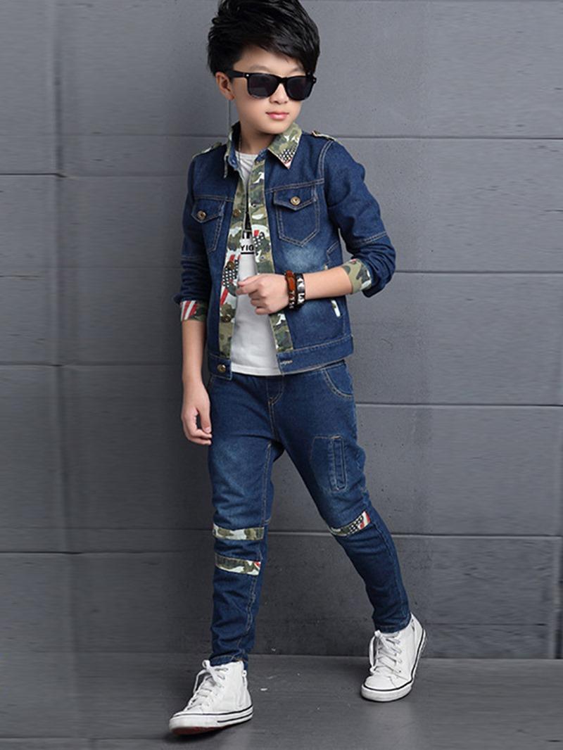 Ericdress Camouflage Patchwork T-Shirt 3-Pcs Denim Boys Outfit