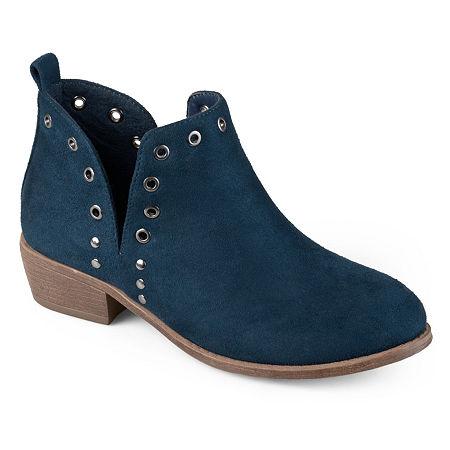 Journee Collection Womens Firth Booties Block Heel, 5 1/2 Medium, Blue