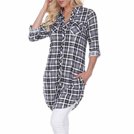 White Mark Piper Plaid Womens Long Sleeve Tunic Top, Large , Black