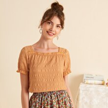 Solid Frill Trim Shirred Blouse