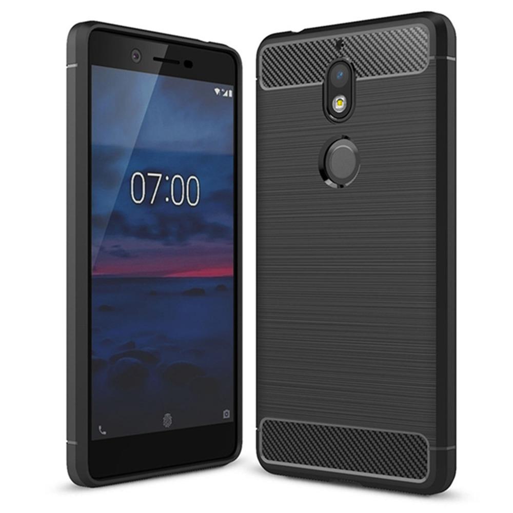 Black Nokia 7 Version High Quality Phone Case Brushed Carbon Fiber Drop Resistance - Black