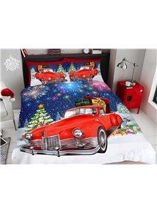 Santa Car Cartoon Christmas Duvet Cover Set 3D Printed 4-Piece Bedding Sets