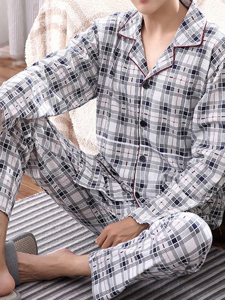 Casual Home Cotton Comfortable Long Sleeve Pockets Loose Pajamas Sets for Men