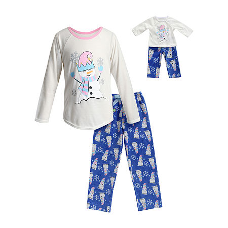 Dollie And Me Little & Big Girls 2-pc. Pant Pajama Set, 10 , Blue