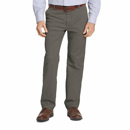 IZOD Big & Tall Sportflex Waistband Stretch Flat Front Chino Pant, 52 29, Gray