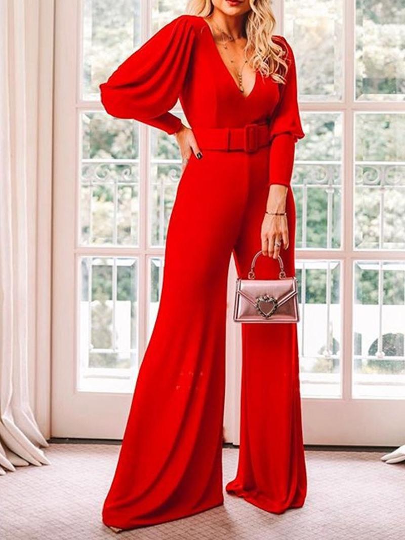 Ericdress Full Length Plain Office Lady High Waist Slim Jumpsuit