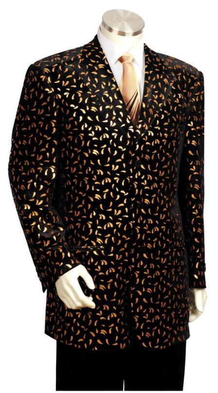 Black with Gold Long Zoot Suit Mens