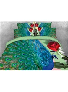 Elegant Peacock and Red Rose Printed 4-Piece 3D Bedding Sets/Duvet Cover