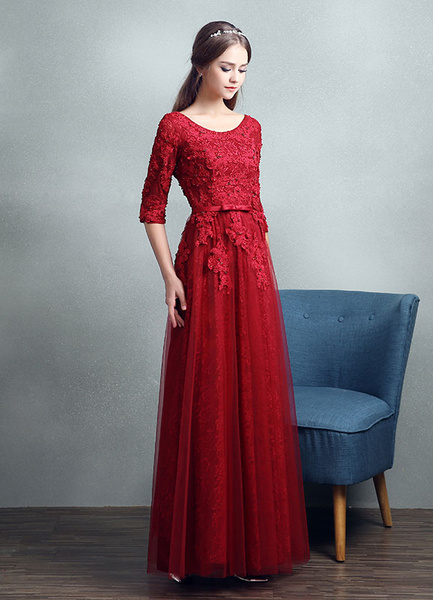 Milanoo Lace Evening Dress Beading Applique Prom Dress A Line Half Sleeve Ankle Length Party Dress With Bow Sash