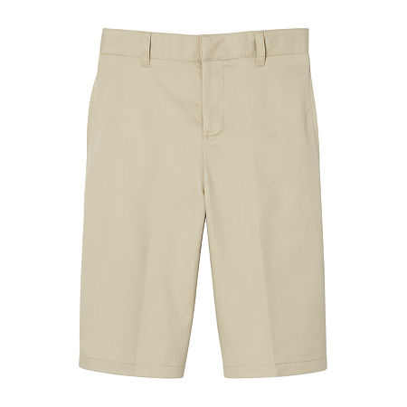 French Toast Flat Front Short Little & Big Boys Mid Rise Stretch Adjustable Waist Chino Short, 14 , Beige