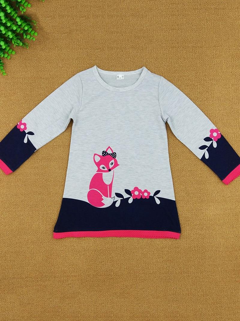 Ericdress Fox Print Color Block Lace Girl's Dress