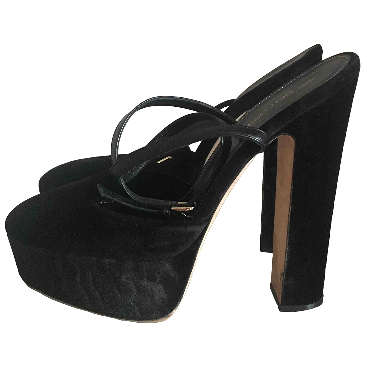 Sergio Rossi \N Black Suede Sandals for Women 38.5 EU
