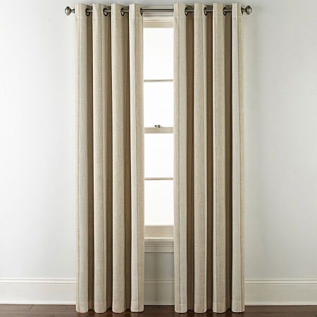 JCPenney Home Sullivan Stripe Blackout Grommet-Top Single Curtain Panel, One Size , Brown