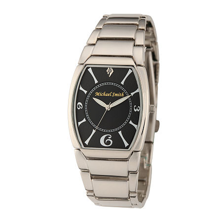 Personalized Dial Mens Diamond-Accent Silver-Tone Watch, One Size , No Color Family