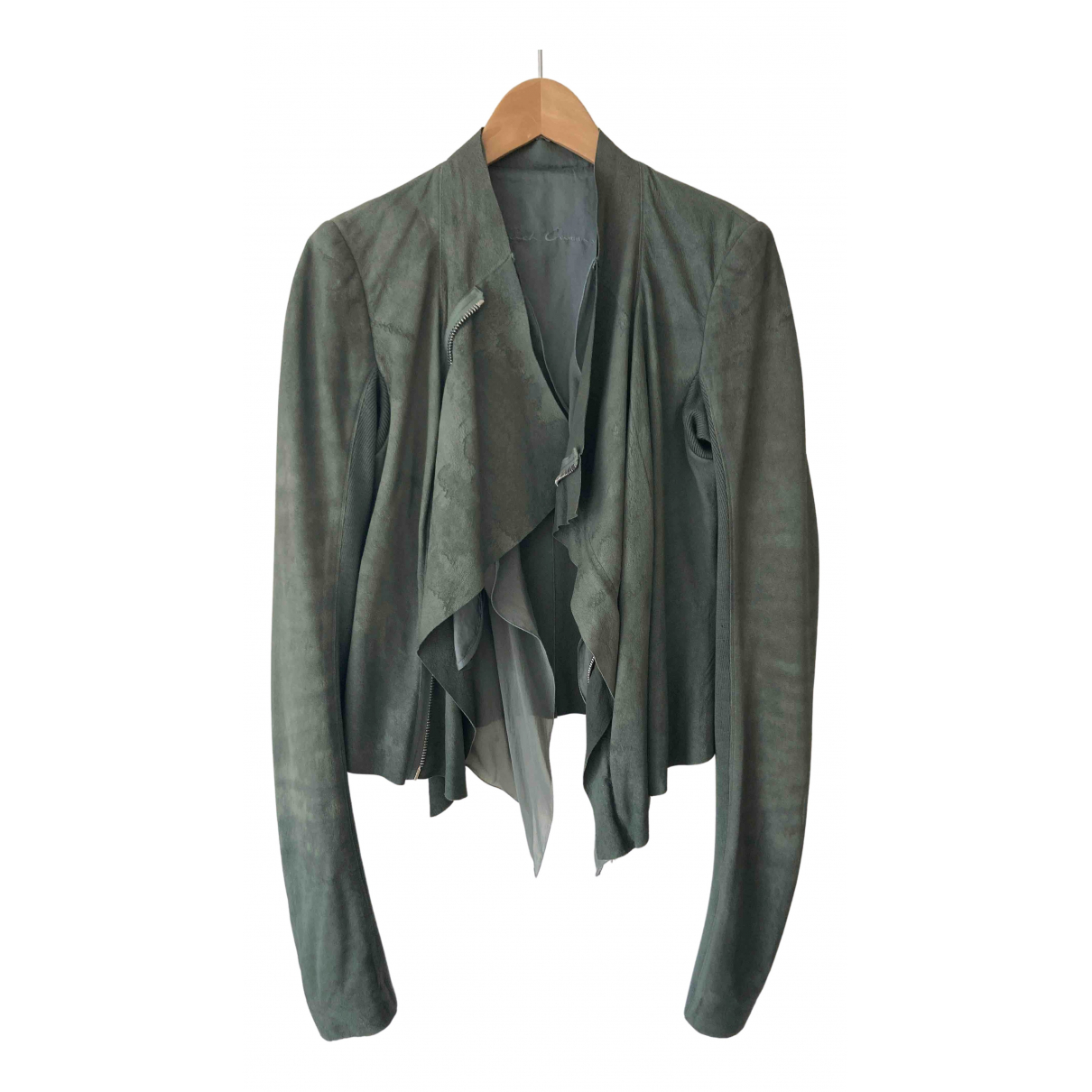 Rick Owens \N Green Leather Leather jacket for Women 38 FR