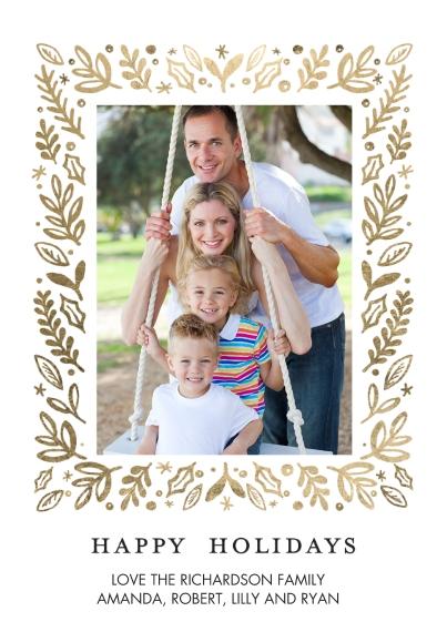 Holiday Photo Cards Flat Glossy Photo Paper Cards with Envelopes, 5x7, Card & Stationery -Holiday Foliage Border by Tumbalina