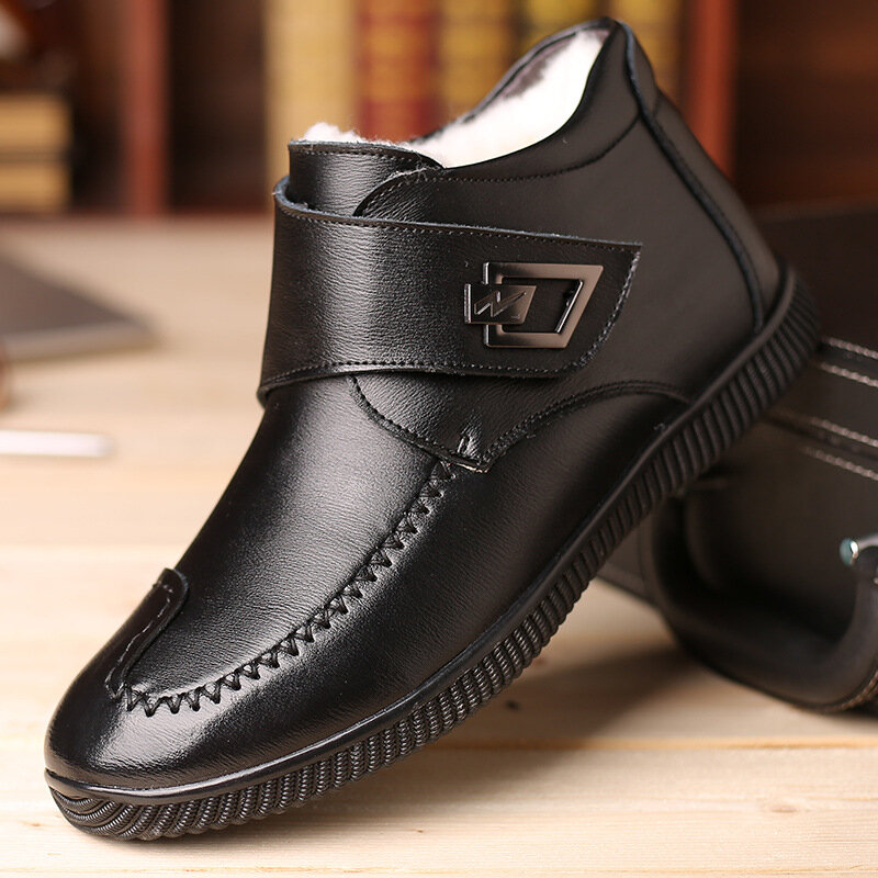 Men Metal Buckle Warm Lining Hook Loop Leather Casual Ankle Boots
