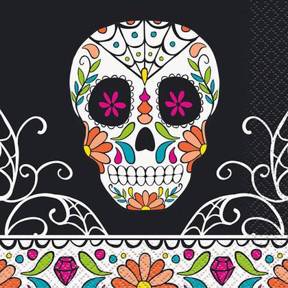 Crâne du jour des serviettes en papier mortes pour la décoration de fête, 24pcs