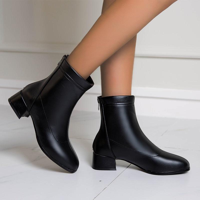Ericdress Back Zip Square Toe Block Heel Thread Boots